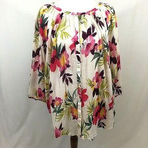Chaps Tropical Floral Print Blouse 2X Button Front